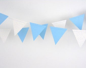 Boy Baby Shower Decoration, Blue and White Glitter Paper Garland