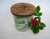 Glass Stash Jar with Laser Engraved Wooden Lid