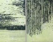 "Sale . Art Prints . Etchings . Navy Blue + Lime Green: Striation 217  + Terrain 122. Print Size 9 1/2"" x 9 1/2"" unframed"