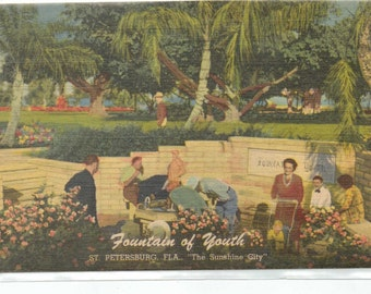 "Florida, Vintage Postcard, ""Fountain of Youth, St. Petersburg, Fla.""   1950s,  #626-2."