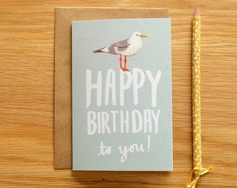 Illustrated Seagull Birthday Card