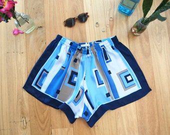 High Waisted Silk Shorts With Abstract 70s Blue Print