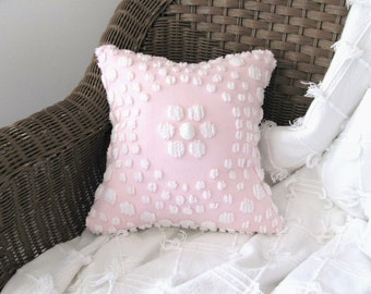 Pink pillow cover, PINK TARGET cushion cover, 12 X 12 inches, shabby cottage chic, pink pillow case