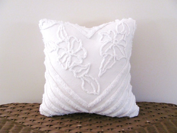white pillow cover 12 X 12 CHEVRON POSIES white cushion cover washable vintage chenille cottage chic shabby style