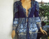 RESERVED Handmade blue outfit cardigan/dress and skirt embellished outfit with crystals crochet details gift idea for her by goldenyarn