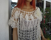 lace top handmade lace vintage style top/off white loose fit summer crochet shirt /all size top gift idea for her by goldenyarn