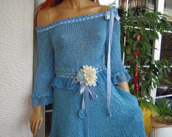 SOLD OUT dress blue handmade  knitted sparkle turquoise dress gypsy  dress ready to ship size M/L gift idea for her by goldenyarn