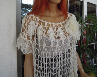 OFFER LAST ONE lace top handmade lace vintage style top/off white loose fit  crochet shirt /all size top gift idea for her by goldenyarn