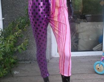 pink purple polka dot mish mash leggings uk size 16 18 20