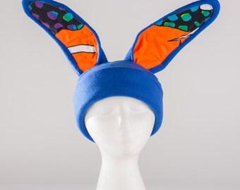 Royal blue rabbit ears hat