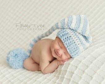 Newborn Elf Hat, Newborn Boy Hat, Crochet Infant Hat, Newborn Photo Prop, Baby Boy Hat, Newborn PomPom Hat, Blue And White Hat, Longtail Hat