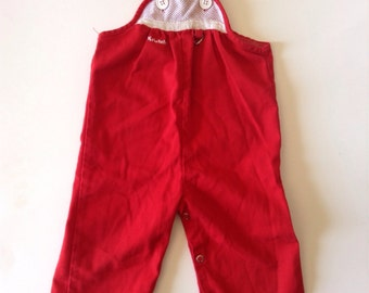 80's Red Mesh Detail Overalls By Krickets (2t)
