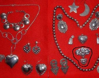 Vintage Silver Jewelery Lot ~ Necklaces ~ Earrings ~ Southwest Designs