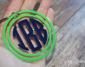 Circle Monogram Keychain - Pick your colors- Customizable to your needs!