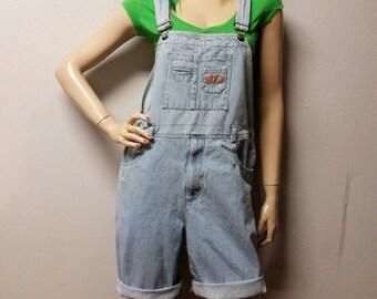 Vintage 80s  light wash  Denim Shortalls/Overalls Shorts - Sz  Large