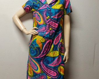 Vintage 60's Robinson's Colorful Paisley Cotton Dress Mod Scooter  Medium