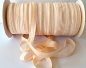 "Pale Peach Nude FOE Fold Over Elastic #113 Shiny FOE 5/8"" inch Baby Headbands Hair Ties Satin Elastic Soft stretch 5 yards Elastic FOE 15mm"