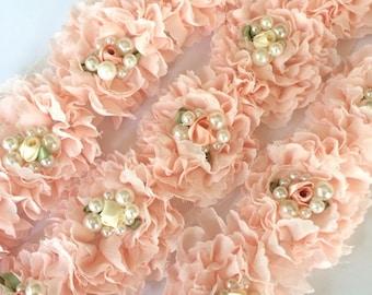 "Blush Fancy Shabby Rose Trim with rossette & pearls  2.5"" Shabby chiffon Flowers applique Wholesale Rosette trim 6cm- light ballerina pink"