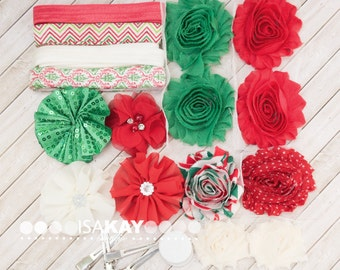 Holly Jolly Headband & Hair Clip Starter Kit - Coordinating Elastic and Flowers to create Holiday hair accessories for Christmas