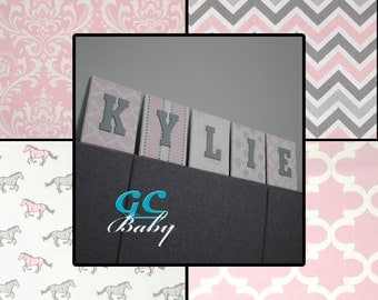 Pink & White Fabric Letter Plaques - 8 Print Choices - Custom Name, Initial, or Monogram Decor for Baby Nursery, Girls Room, Boys Bedroom