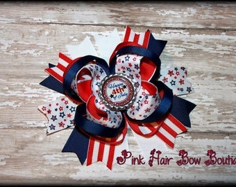 Happy 4th of July Hair Bow , patriotic hair bow , Fourth of July hair bow