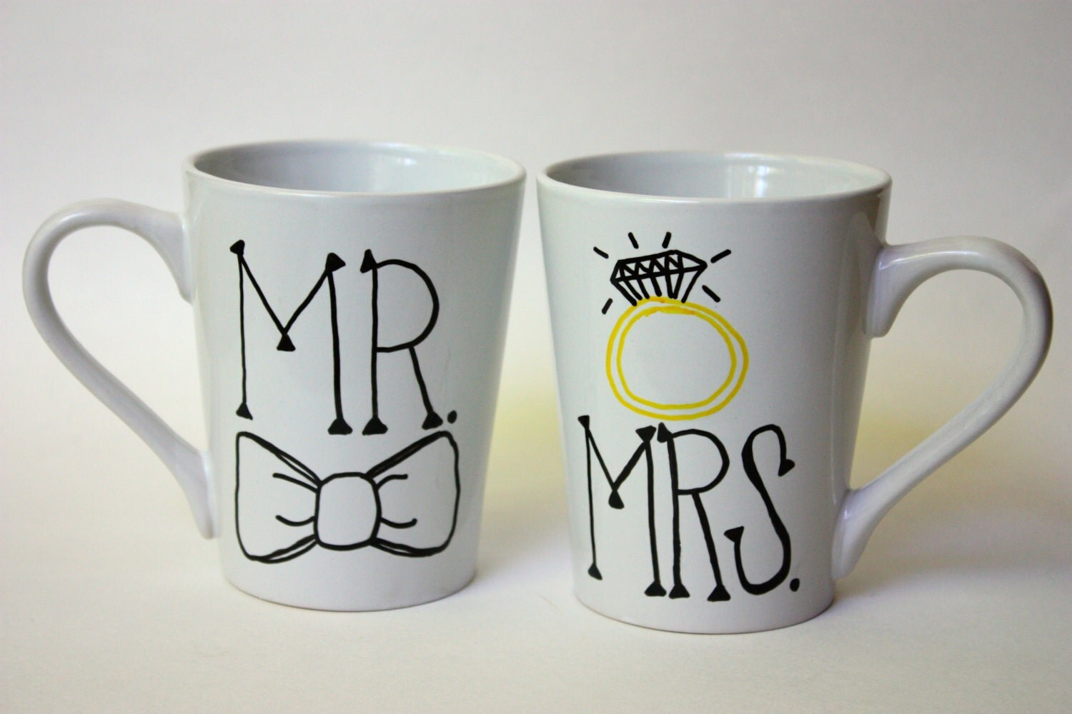 MR. and MRS. coffee mugs wedding gift tea wedding by KatyGirlGoods