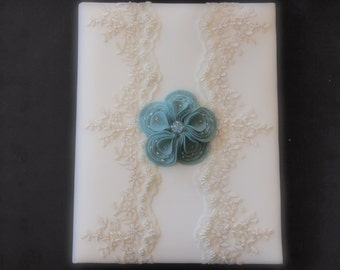 Wedding Memory Album Ivory Turquoise Green