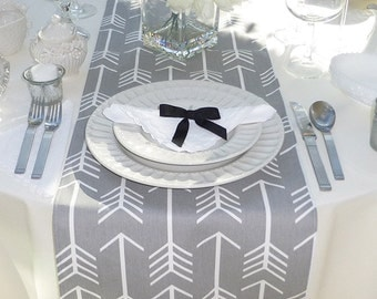 Choose your Table Runner, Gray Table Runner - Gray Wedding Linens - Gray Table Topper - Arrow Gray Table Runner