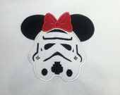 Custom Storm Trooper Miss mouse head personalized applique Adult shirt