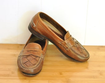 Vintage Mens Penny Loafers Leather Casual Slip On Johnston & Murphy Mens Shoes Size 9 - 9 1/2 Wide Brown Leather Basketweave 1970s