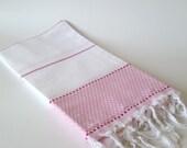 Turkish Bath Towel: Peshtemal, Natural cotton, Home Living, Bath Body, Beach, Spa Towel, Pink, gift, guest towel, soft cotton, bridesmaid