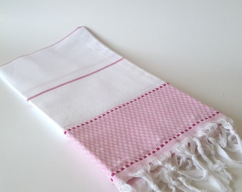Turkish Bath Towel: Peshtemal, Natural cotton, Home Living, Bath Body, Beach, Spa Towel, Pink, valentine's day , soft cotton, bridesmaid