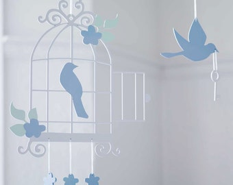Bird Cage Wooden Baby Mobile