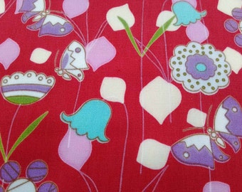 Tulip and butterfly, red, fat quarter, pure cotton fabric