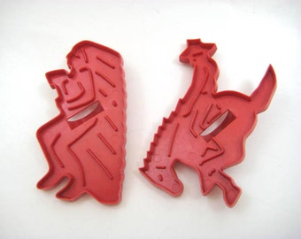 Vintage 1960s Marx Western Rodeo Cookie Cutters, Cowboy, Native American Indian, Bucking Bronco Horse