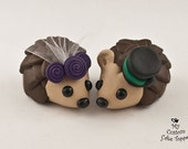 Hedgehogs Wedding Cake Topper with Rosettes