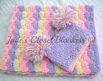 Baby Girl Gift Set, Crochet Baby Crib Blanket and Hat Gift Set, pink, cream, and purple