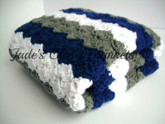 Crochet Baby Blanket, Baby Blanket, Blue, White, and Grey, Gray, Crochet Blanket, stroller / travel size
