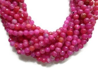 Agate - 6mm Faceted Round Bead - Hot Pink Fuchsia - Full Strand - about 62 beads