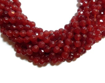 Red Jade - Faceted 6mm Round Bead - 62 beads - Full Strand - Cherry Scarlet Cardinal stone - shades of red