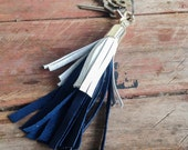 Handmade leather Tassel, keyring, bag charm, two tone