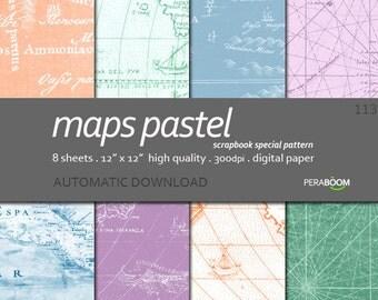 Vintage Maps Digital Paper, Old Maps Backgrounds, Maps Patterns, Pastel maps, Antique Paper, Instant Download, Peach blue