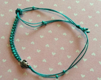 Itsy Bitsy Turtle (8mm)  Braided Bracelet or Anklet Symbol of LOVE and HAPPY LONG Life