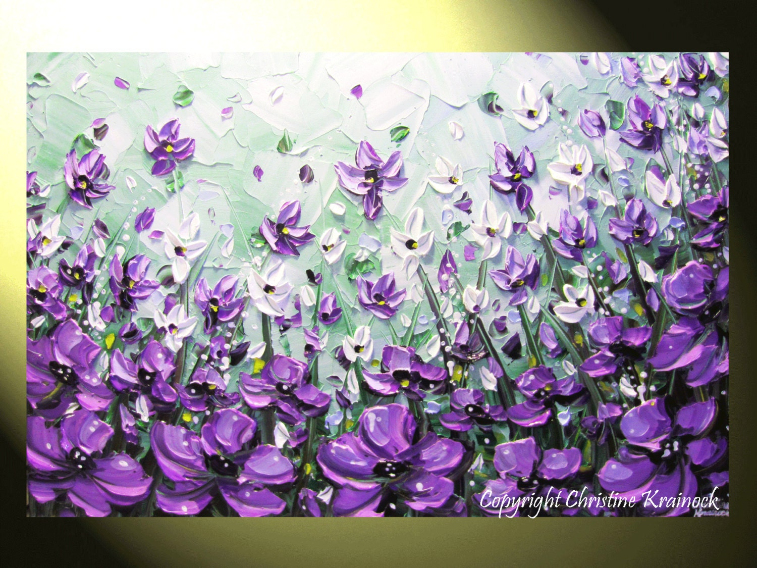 Original Art Abstract Painting Lavender Flowers Mint Green