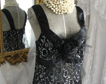 Lingerie black sparkly tulle, romantic negligee, sexy gowns, black gowns, upcycled