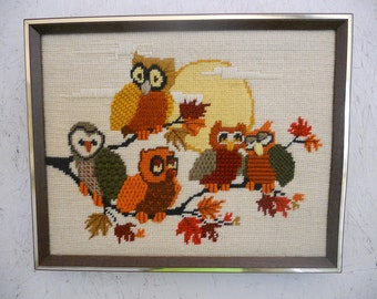 Vintage OWL Family Wall Hanging 1970's Earth Tones Crewel Needlework