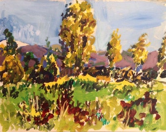 Eucalyptus trees in the field, original Plein air landscape painting, oil colors on paper, 37.5 x 49 cm, 15.6 x 19.3 inch, Shirley Kanyon