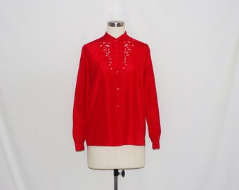 Vintage Chinese Style Embroidered Red Shirt