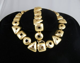 Vintage Anne Klein Necklace and Bracelet 1980s Haute Couture Geometric Shapes