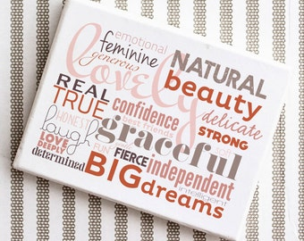 "lovely - typographic design - gallery wrapped canvas - 10""x12"""